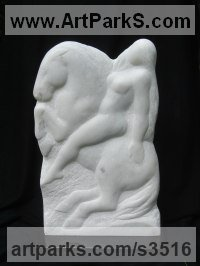 Portuguese White Marble Bas Reliefs or Low Reliefs sculpture by sculptor Michael Hipkins titled: 'Joy Ride (Carved nude Riding Horse Low Relief statue)'