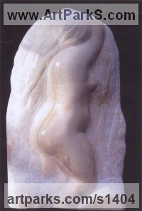 Portuguese Rose Marble Human Form: Abstract sculpture by Michael Hipkins titled: 'Primavera (nude Carved marble Bas Relief sculptures)'