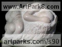 Portuguese Rose Marble Females Women Girls Ladies sculpture statuettes figurines sculpture by sculptor Michael Hipkins titled: 'Recumbent Form (Carved marble Lying Primitive nude statue)'
