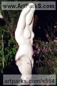 Portuguese Rose Marble Females Women Girls Ladies sculpture statuettes figurines sculpture by sculptor Michael Hipkins titled: 'The Bather (Carved Primitive Style nude Girl Modern Rose marble statue)'