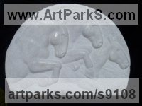 Portuguese White Marble Carved Stone, Marble, Alabaster, Soap Stone Granite Lime stone sculpture by Michael Hipkins titled: 'The Race (Galloping Horses Low Relief marble statue)'