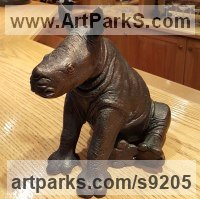 Bronze 27th Wedding Anniversary Gift or Present Sculptures Statues statuettes sculpture by Michael J Mawdsley titled: 'Baby Rhino (bronze small sculpture figurine)'