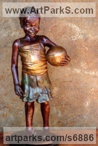 Bronze Children Child Babies Infants Toddlers Kids Sculptures Statues statuettes figurines sculpture by Michael J Mawdsley titled: 'Ball For All (bronze Little Girl Football Supporter statue sculpture)'