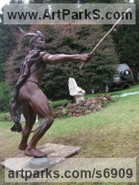 Public Art sculpture by sculptor Michael J Mawdsley titled: 'Dalasile (Life-Size Bronze African Warrior sculpture Commission)'