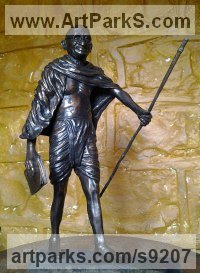 Bronze Famous People Sculptures Statues sculpture by Michael J Mawdsley titled: 'Gandhi (bronze statue Figurine)'