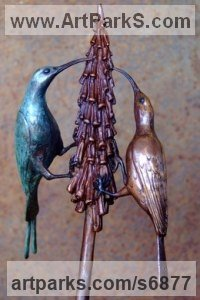 Bronze African Animal and Wildlife sculpture by Michael J Mawdsley titled: 'Malachite Meanderers (bronze Sunbirds on a Flower sculpture statuette)'