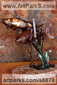 Bronze Small Game fish like Trout Salmon Grayling and Other Angling Fish sculpture by Michael J Mawdsley titled: 'Mingle (bronze Koi Carp Fish Indoor statue sculpture)'