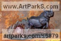 Bronze African Animal and Wildlife sculpture by Michael J Mawdsley titled: 'Scent (Small Bronze Black Rhino statue sculpture)'