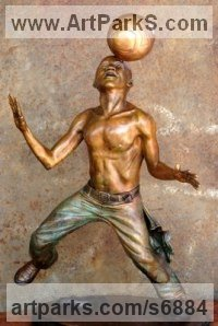 Bronze Human Figurative sculpture by Michael J Mawdsley titled: 'Xolani Control (bronze African Footballer Balancing Football sculpture)'