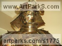 Figurative Public Art Sculpture by sculptor artist Michael Turner titled: 'Sam the Samurai' in Stainless steel