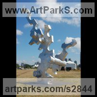 Construction Abstract Sculpture Statues by sculptor artist Mike Hansel titled: 'Cause and Effect (Very Large Contemporary abstract statue)' in Aluminum