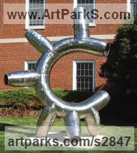 Stainless steel Tubular Abstract Contemporary Post Modern Steel or Aluminium / Statues or sculpture by Mike Hansel titled: 'Intestinal Fortitude (abstract Minimalist Tubular garden Outdoor statue)'