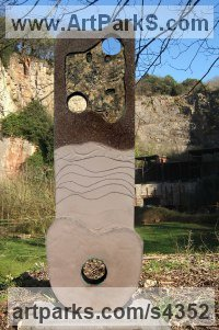 Reconstituted Stone Faux Bronze insert Abstract Contemporary Modern Outdoor Outside Garden / Yard sculpture statuary sculpture by sculptor Mike Janes titled: 'Hard Construct (Modern abstract Circles statue)'