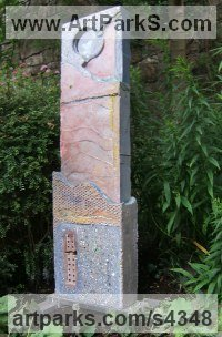 Terrazzo and Glass Monumental sculpture by sculptor Mike Janes titled: 'Stratum (Modern abstract Standing garden statue)'