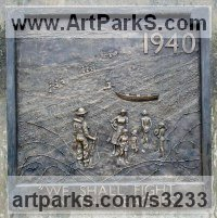 Wall Panel Carved Engraved Cast Moulded Sculpture Statue plaque by sculptor artist Mitchell House titled: '1940 Beach. (Bronze bas relief of WWII soldiers)' in Cold cast bronze