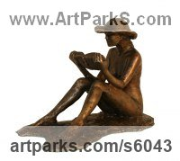 Bronze Females Women Girls Ladies sculpture statuettes figurines sculpture by sculptor Mitchell House titled: 'An Afternoons Read (Small Girl Sitting Resting Reading Book statues)'