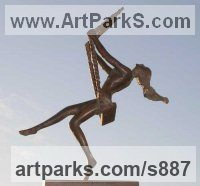 Bronze resin Females Women Girls Ladies sculpture statuettes figurines sculpture by sculptor Mitchell House titled: 'Girl on a Swing 2 (small cold cast Bronze figurine)'