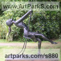 Bronze resin Females Women Girls Ladies sculpture statuettes figurines sculpture by sculptor Mitchell House titled: 'Girl on a Swing 1 (3/4 life size Bronze resin garden/Yard statues)'