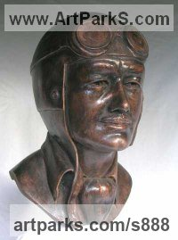 Bronze resin Sculptures of Sport by Mitchell House titled: 'Hero (life size Racing Driver Portrait Bust Head and Goggles statue)'