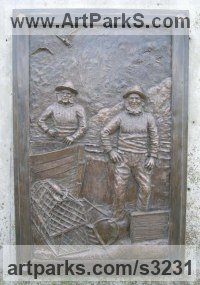 Cold cast Bronze Commemoratives and Memorials sculpture by sculptor Mitchell House titled: 'Lobster Fishermen (bronze Memorial Bas Relief plaque)'