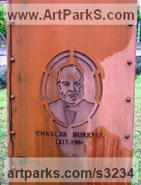 Monumental Sculpture by sculptor artist Mitchell House titled: 'Monument to Charles Burrell (memorial steel)' in Corten steel plate/bronze