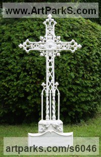 Bronze,Iron, Aluminium Monumental sculpture by Mitchell House titled: 'Ornate Gothic Cross (Grave marker Grave `Stone` statue)'
