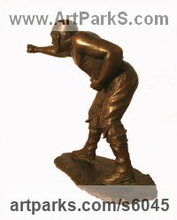 Cold cast bronze Champions sculpture statuettes figurines sculpture by sculptor Mitchell House titled: 'Pugilist (Small Bare Fist Boxer Fighter sculptures)'