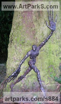 Bronze resin or iron resin Human Form: Abstract sculpture by sculptor Mitchell House titled: 'Wood Nymph (Little abstract Running nude Girl statue)'