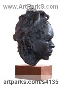 Bronze Resin Portrait Sculptures / Commission or Bespoke or Customised sculpture by Mo Gardner titled: 'African Girl (Lifesize resin Portrait Bust/Head statue)'