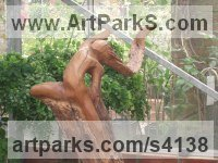 Applewood on a Slate Base Wild Modern Contemporary Dance or Dancing sculpture by Mo Gardner titled: 'Fire Dance (Wild Pagan Carved Wood abstract Girl statue)'