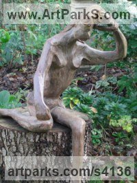 Iron Resin Human Form: Abstract sculpture by Mo Gardner titled: 'Iron Maiden (Seated Modern Girl Lady garden Yard statue)'
