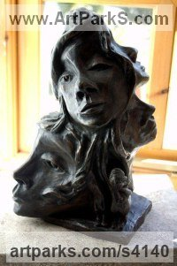 Bronze Resin Human Form: Abstract sculpture by Mo Gardner titled: 'Six Faces of Woman (female Mask Bust statues/sculpture)'