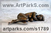 Bronze Resin Little Small Nude or Naked Girls Women Ladies Females sculpture statuettes Figurines sculpture by sculptor Moira Purver titled: 'Dreaming (nude Naked Sleeping Lying Girl Young Woman sculpturette)'
