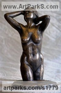 Bronze Resin Nudes, Female sculpture by sculptor Moira Purver titled: 'Emerging'