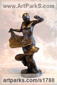 Bronze Resin Females Women Girls Ladies sculpture statuettes figurines sculpture by sculptor Moira Purver titled: 'Flamenco'