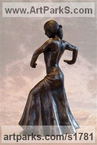 Bronze Resin Females Women Girls Ladies sculpture statuettes figurines sculpture by sculptor Moira Purver titled: 'Flamenco Dancer'