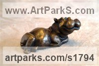 Bronze Resin Animals in General sculpture sculpture by sculptor Moira Purver titled: 'Happy Hippo'