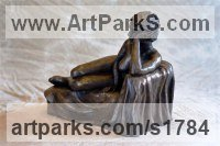 Bronze Resin Little Small Nude or Naked Girls Women Ladies Females sculpture statuettes Figurines sculpture by sculptor Moira Purver titled: 'Lidia Reclining (Small nude Little Naked Girl Thinking sculpture)'