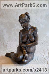 Bronze resin Females Women Girls Ladies sculpture statuettes figurines sculpture by sculptor Moira Purver titled: 'Quiet Reflection (Gentle Naked Seated nude Girl Young Woman statue)'