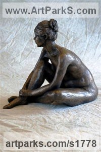 Bronze Resin Sculptures of females by Moira Purver titled: 'Quietly Waiting (Peaceful Relaxed Naked nude Girl Lady female statue)'