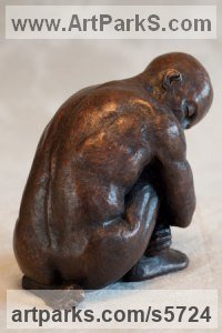 Bronze Resin Nudes / Male sculpture by sculptor Moira Purver titled: 'Self-Contained Man (Small Little Seated nude Man Sitting statuette)'