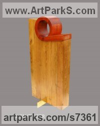 Wood, brass Construction Abstract Sculpture Statues sculpture by Moise Dikoff titled: 'Il Faut Oser (Small Minimalist Carved abstract statue)'