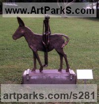 Bronze Human Figurative sculpture by Monika Brors titled: 'Grautier mit Reiter (Bronze Donkey and Rider statues)'