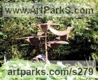Bronze Small bird sculpture by Monika Brors titled: 'Vogel (Bronze Flight of Birds Bronze sculptures)'