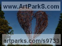 Vegetal steel Love / Affection sculpture by MORGAN SCULPTEUR titled: 'Coeur de Brousse (Love Land Art sculpture)'