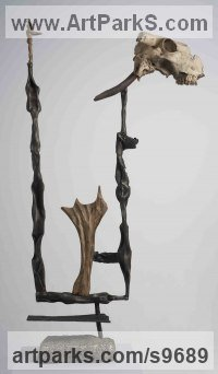 Bronze steel stone bone Assemblages Sculptures Made from a Variety of Pieces or Bits collected together sculpture by MORGAN SCULPTEUR titled: 'The Guide (Contemporary abstract Man sculptures)'