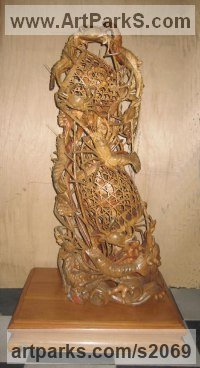 Classical Oriental Sculpture by sculptor artist Mr Zheng Q.M. titled: 'Shrimp and Crab with Basket or Harvest Carved Wood sculpture/carving' in Camphor wood