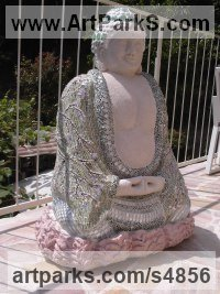 Ciment,chaux, sable,mosaique Spiritual sculpture by sculptor Nadège Gesvres titled: 'bouddha mediteur (Meditating Mosaic Buddha Sitting garden/Yard statue)'