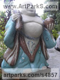 Ciment,chaux,sable,mosaique Religious sculpture by Nad�ge Gesvres titled: 'Bouddha rieur (Laughing Buddha Mosaic Half Size Standing sculpture)'