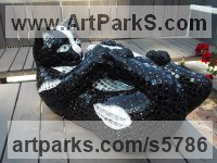 Mosaique,platre,resine epoxy Mosaic sculpture by Nadège Gesvres titled: 'Chat chic (Playful Recumbent Black Kitten/cat Mosaic statues/sculpture)'